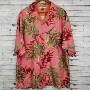 Tommy Bahama Pink Palm Print Silk Buttondown Sz XL